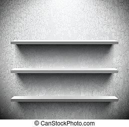 Three lightened shelves on cracked wall - Three lightened...