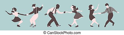 Three lindy hop dancing couples silhouettes