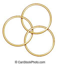 Three linking metal rings for showing magic trick.