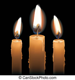 Three Lit Candles - Three burning candles isolated on black...