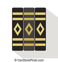 Three literary books icon, flat style