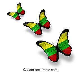Three Lithuanian flag butterflies, isolated on white