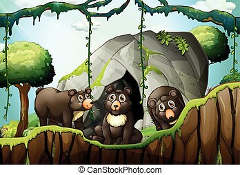 Three little bears by the cave