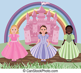 Three little girls or princesses and fairy tale castle