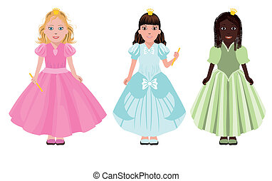 Three little girls or princesses