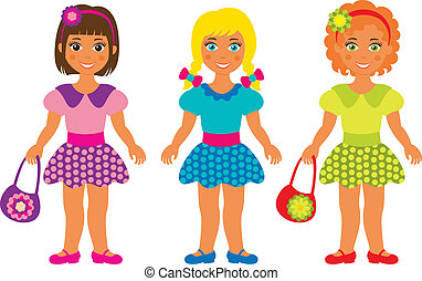 three little girls - vector illustration of three little...