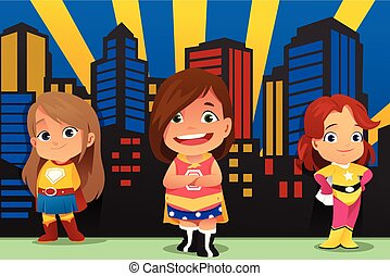 Three Little Girls Wearing Superheroes Illustration