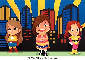 Three Little Girls Wearing Superheroes Illustration - A...