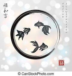 Three little goldfishes in black enso zen circle on white...