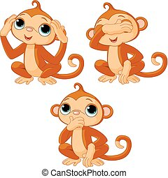 Three little monkeys. See no evil, speak no evil, hear no ...
