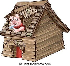 Three Little Pigs Fairy Tale Wood House