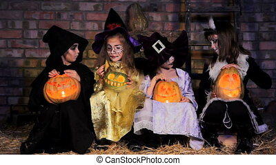 Three Little Witches and One Monster Have  a Party