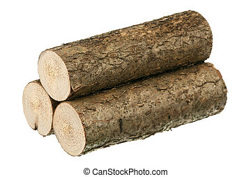 Three logs are isolated on a white background