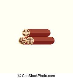 Three logs of wood, firewood, flat style icon