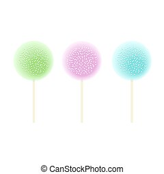 Three Lollipops green, pink, blue. Set isolated on white. icing and sprinkles, Vector illustration.