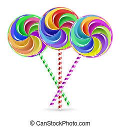 Three lollipops - The colorful lollipops on striped sticks...