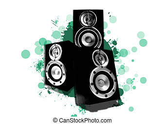 three loudspeaker with cyan circles and green splashes in the background isolated on white
