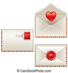 Three love letters - vector Valentines illustration