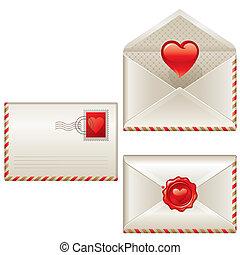 Three love letters - vector Valentines illustration