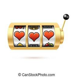 Three lucky heart symbols on slot machine