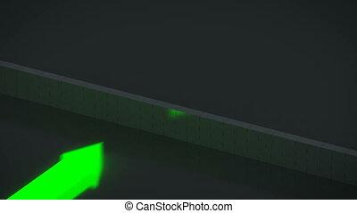 Three luminescent arrows breaking a wall.