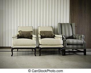 Three luxurious armchairs