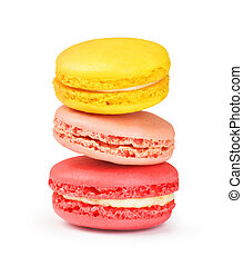three macaroons on a white background
