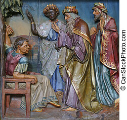 Three Magi before Herod
