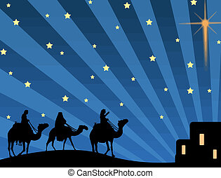 Vector illustration with three wise men and shining star of Bethlehem