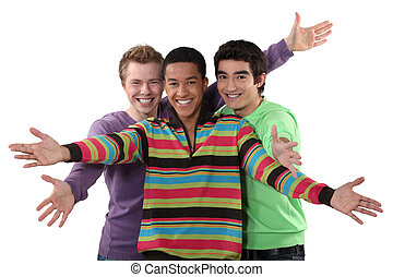 Three male friends making welcome gesture