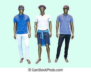 Three male mannequins