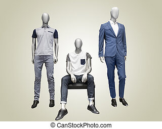 Three male mannequins.