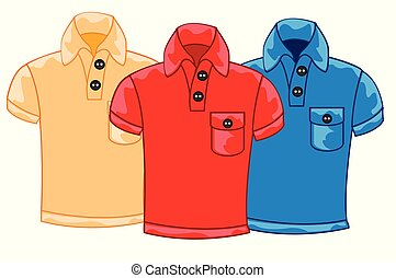 Three male shirts of the miscellaneous colour on white background