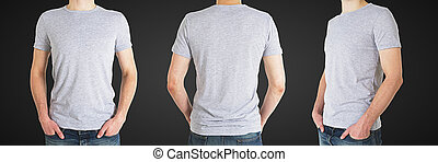 three man in t-shirt - three man in gray polo t-shirt on a ...