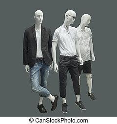 Three man mannequins