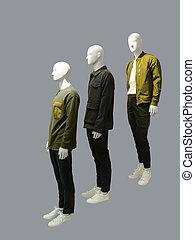Three man mannequins.