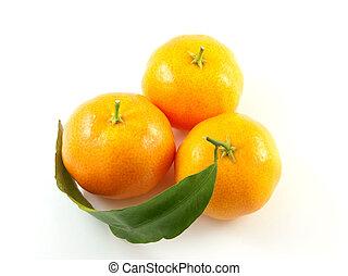 Three mandarin with leaf isolated on white background