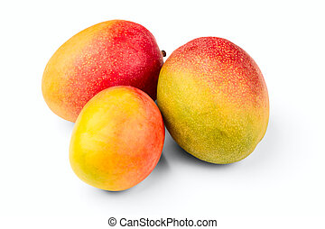 Three mangoes isolated on a white background