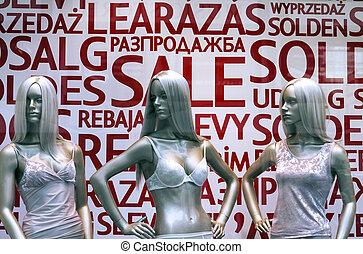 Three mannequins in lingerie