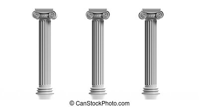 Three marble pillars columns classic greek isolated against white background. 3d illustration