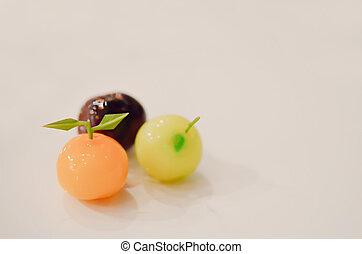three marchpane fruit cake , delicious desset