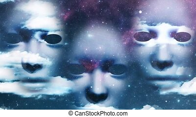 Three masks in starry sky