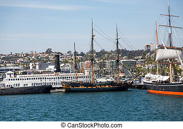 Three Masted Sailboats in San Diego