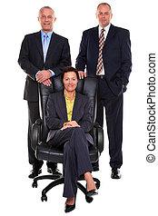 Three mature business people