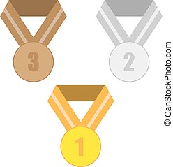 Three medals. Gold, silver and copper. Vector illustration