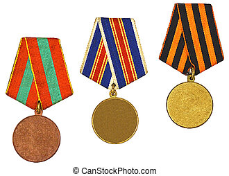 three medals isolated on white