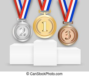 Three medals on podiumn