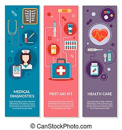 Three medical vertical banners with medical icons in flat style