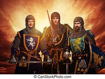 Three medieval knights against stormy sky.