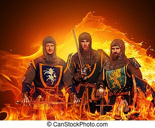 Three medieval knights  on flame background.